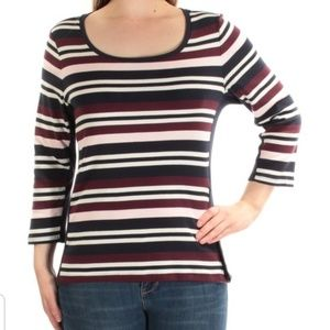 TOMMY HILFIGER Pink Striped Long Sleeve sweater